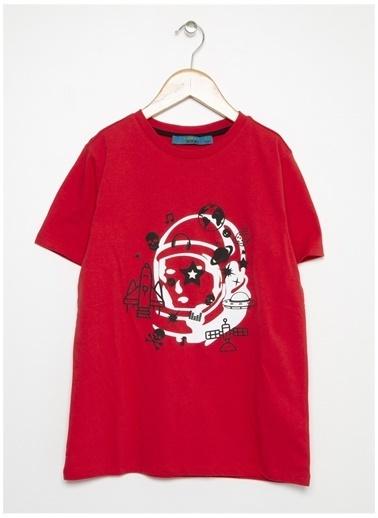Funky Rocks Funky Rocks Erkek Çocuk Kırmızı Bisiklet Yaka T-Shirt Kırmızı